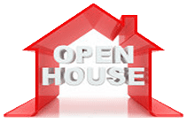 open house red logo with house open